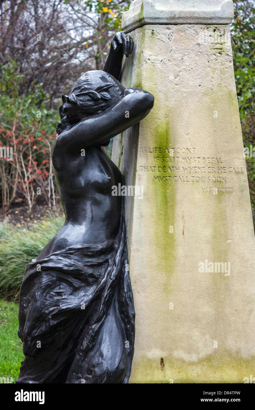 Arthur Sullivan Memorial, Weeping Muse detail - Stock Image