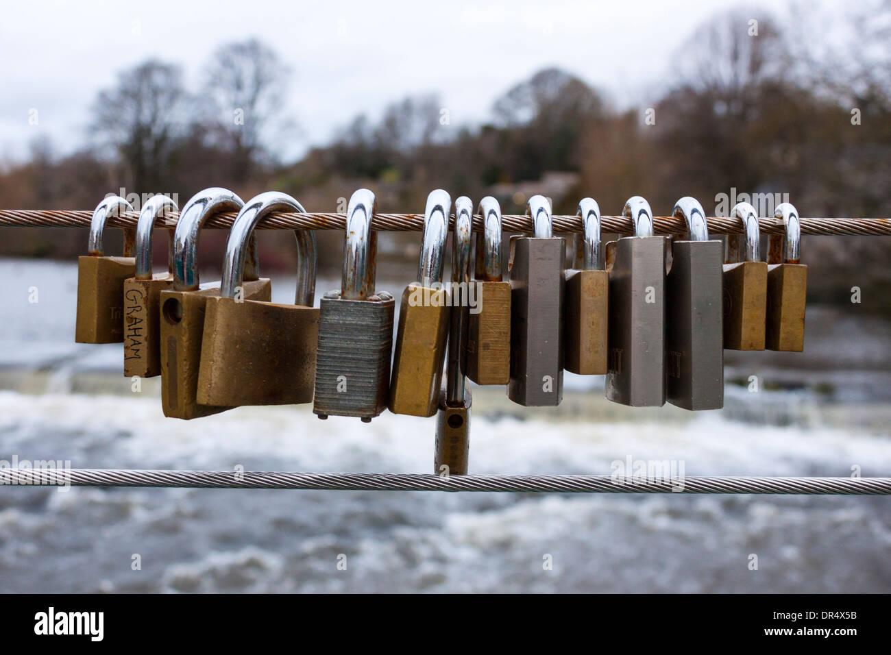 Love Locks, Wye Bridge, Bakewell, Derbyshire - Stock Image