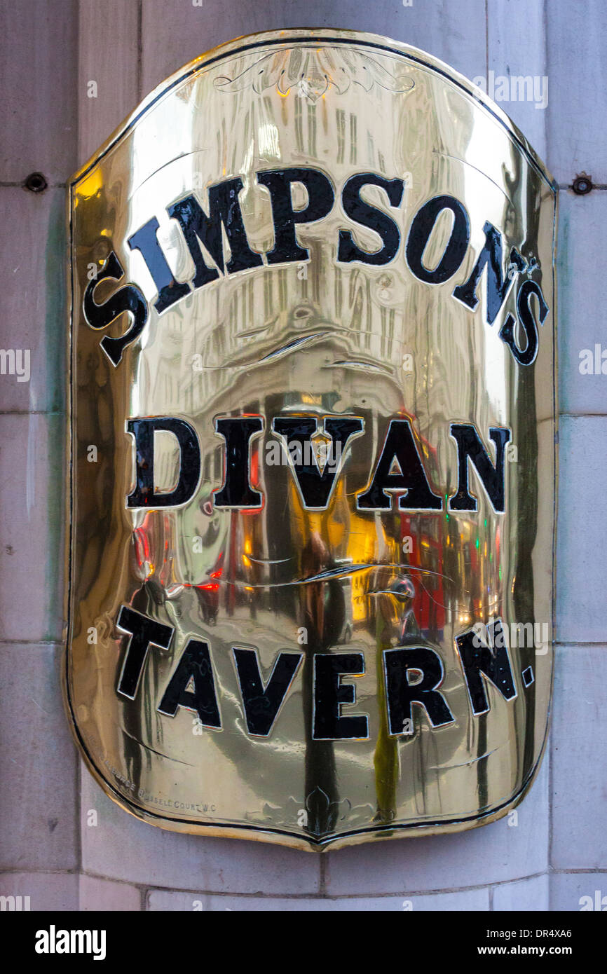 Simpson's-in-the-Strand brass sign, London - Stock Image