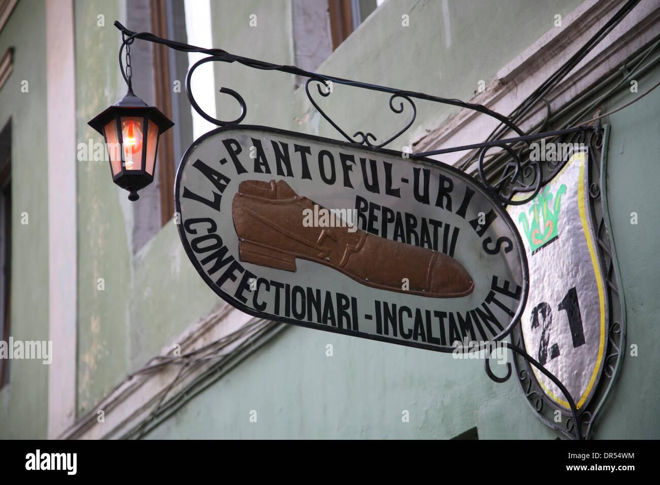 Cobbler sign, Sibiu (Hermannstadt), Transylvania, Romania, Europe - Stock Image