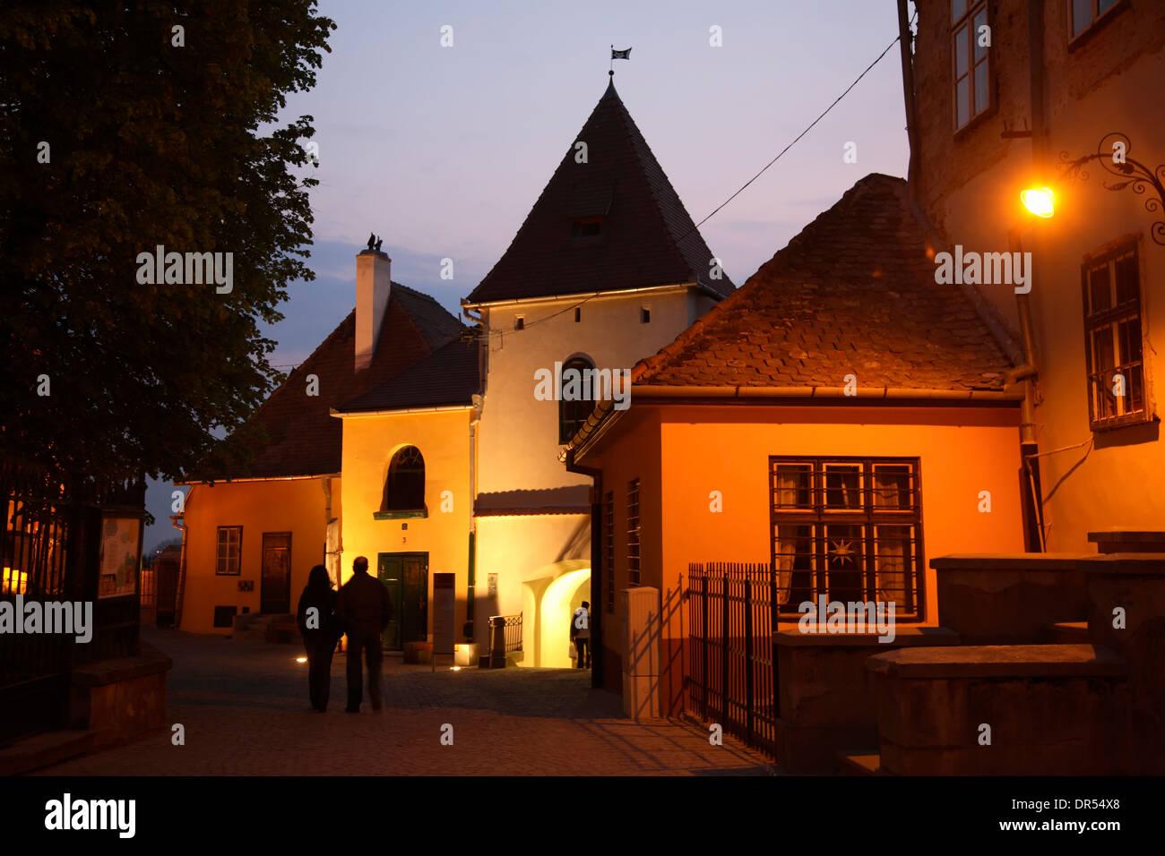 Houses at Huetplatz, Sibiu (Hermannstadt),  Transylvania, Romania, Europe - Stock Image