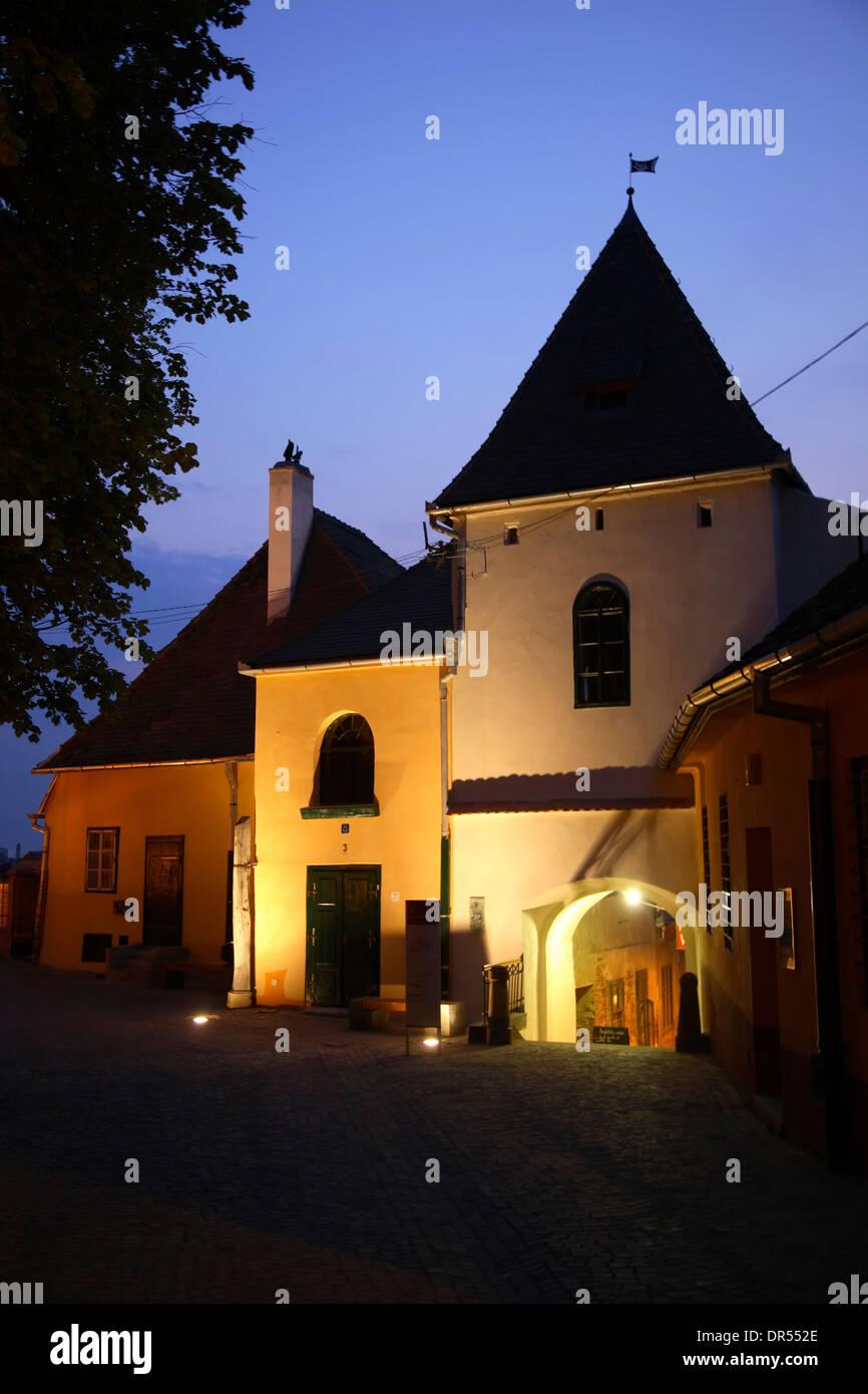 Houses at  Huetplatz, Sibiu (Hermannstadt),  Transylvania, Romania, Europe Stock Photo