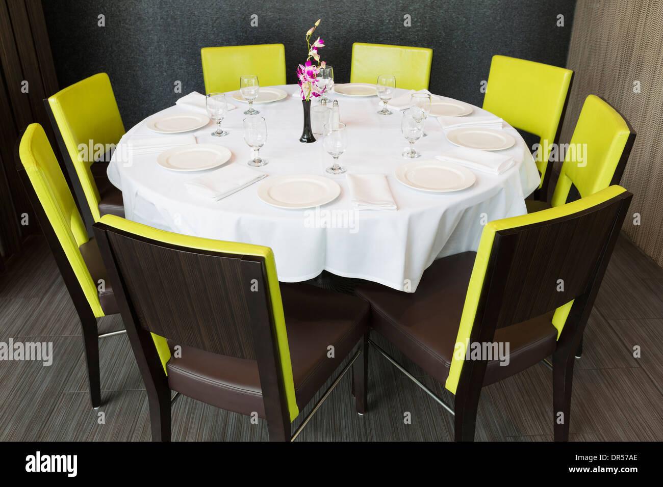 Set table in Thai restaurant - Stock Image