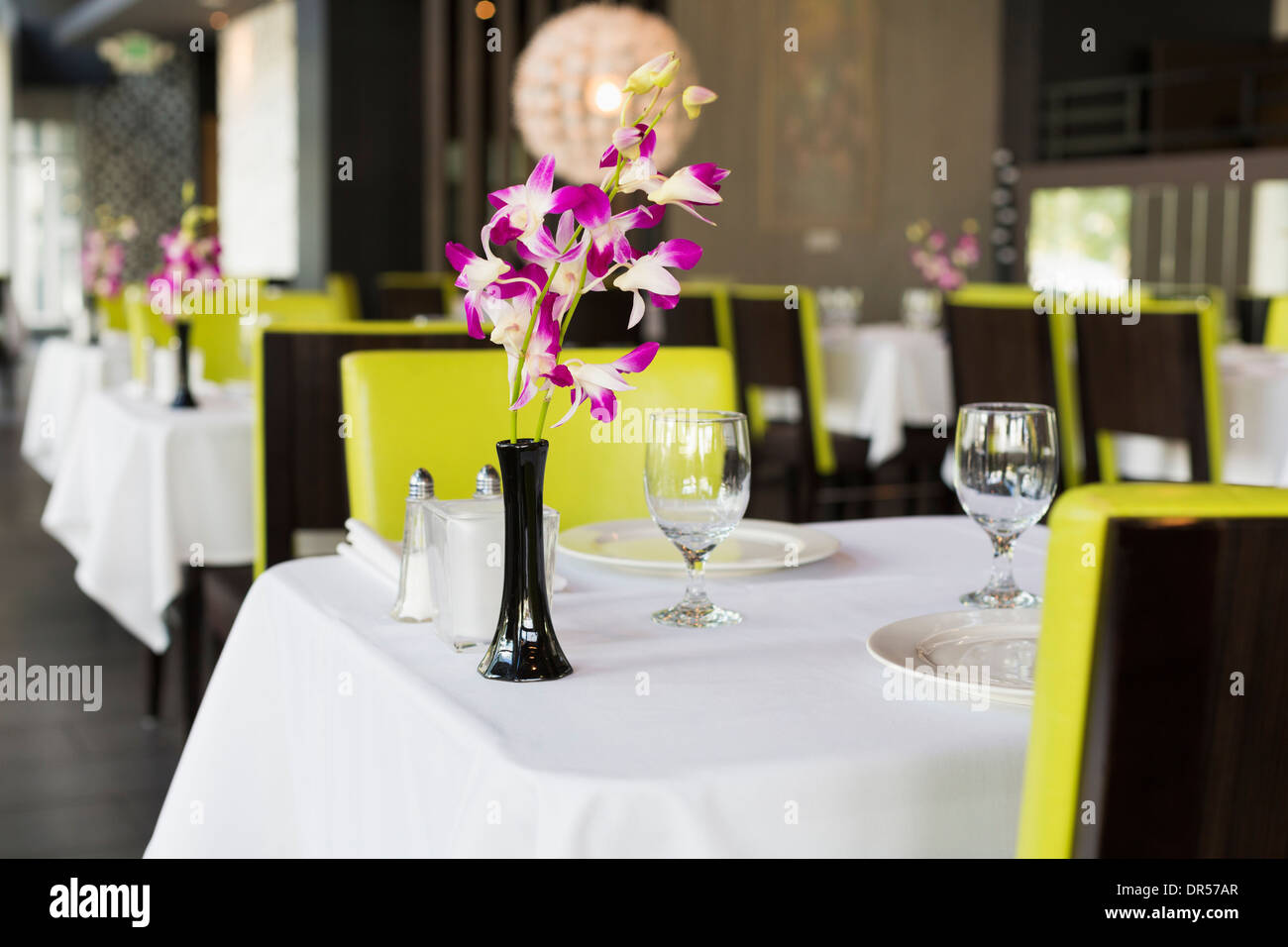 Set table in Thai restaurant - Stock Image