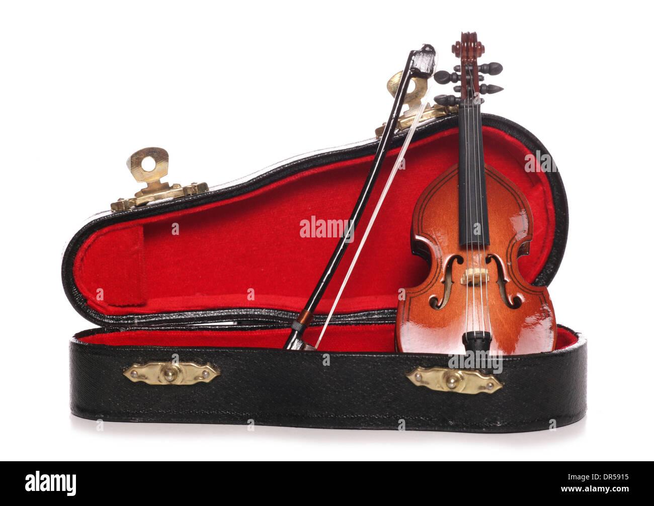 violin miniature musical instrument cutout - Stock Image
