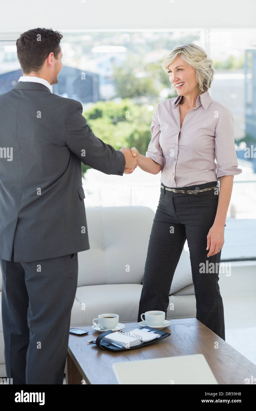 Executives shaking hands over a coffee table at home - Stock Image