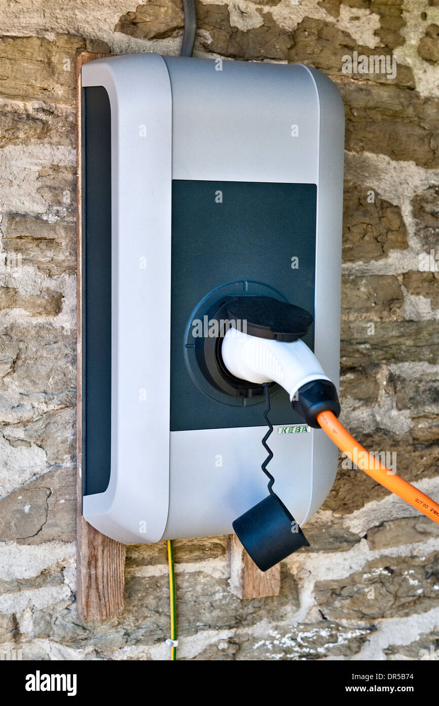 Home charging point for an electric car, UK - Stock Image