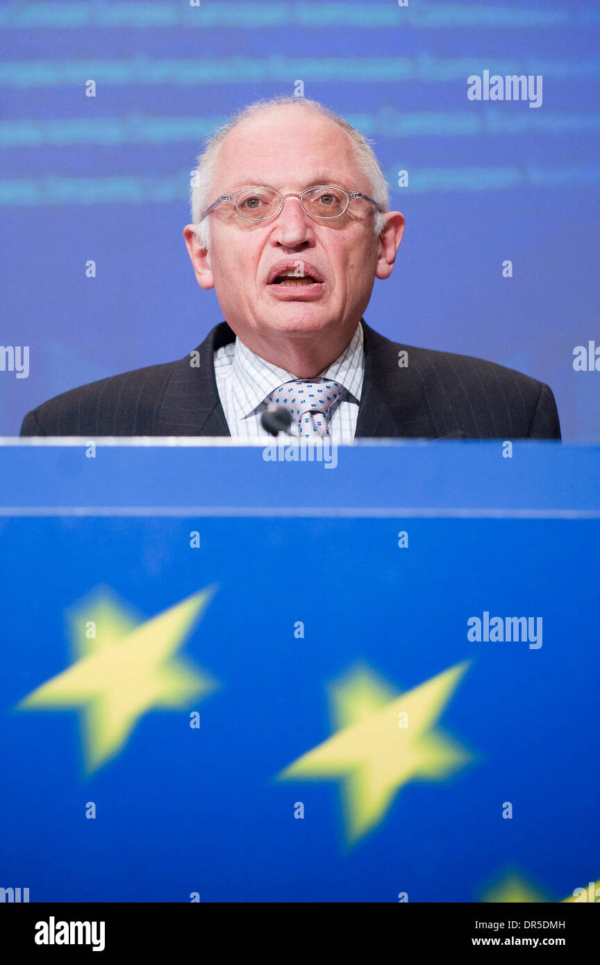Feb 25, 2009 - Brussels, Belgium - Vice-President of the European Commission and EU commissioner in charge of enterprise Stock Photo