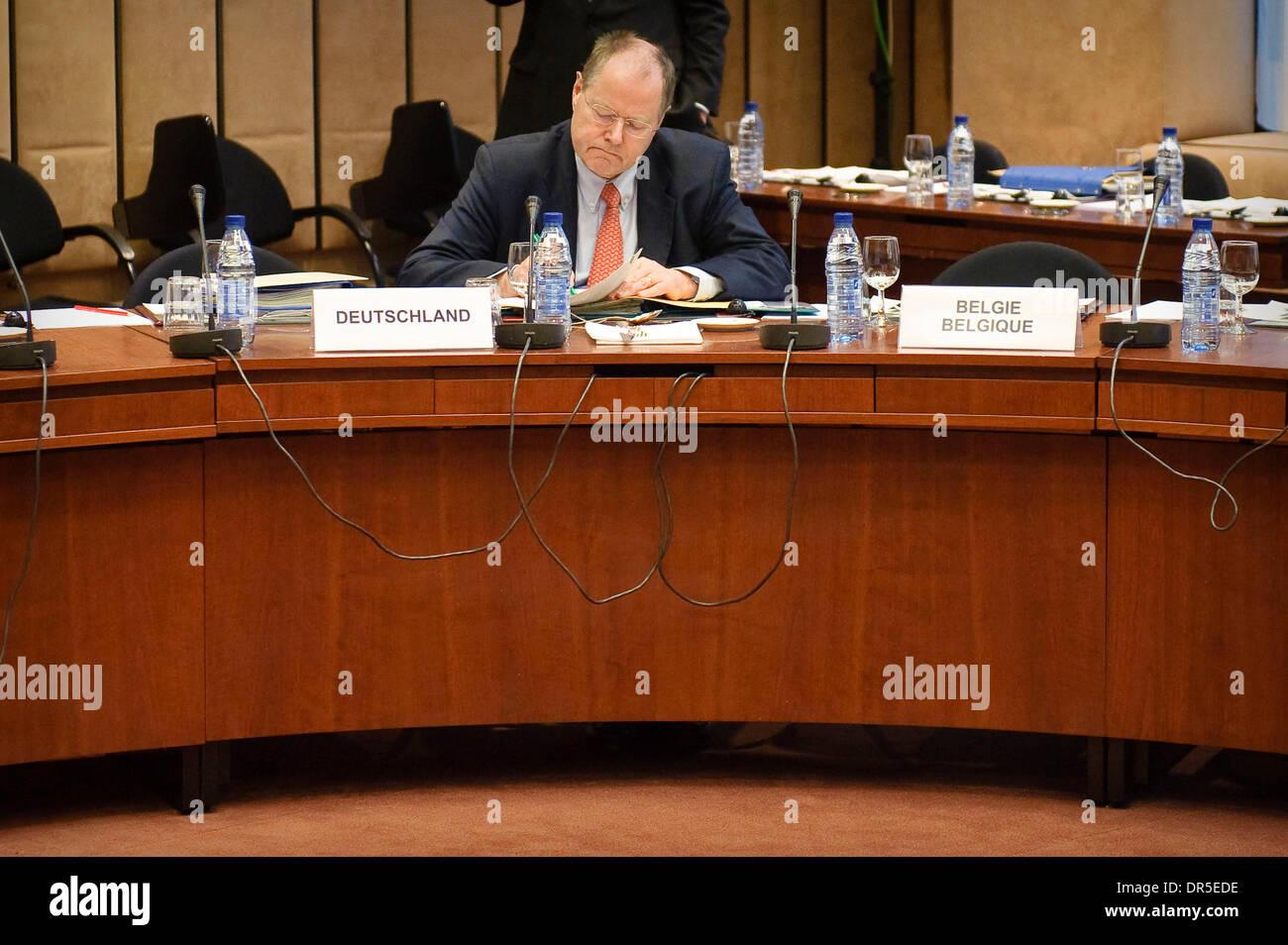 Mar 09, 2009 - Brussels, Belgium - German Finance Minister PEER STEINBRUECK at the start of an Eurogroup Finance ministers meeting at the European council headquarters. (Credit Image: © Wiktor Dabkowski/ZUMA Press) - Stock Image