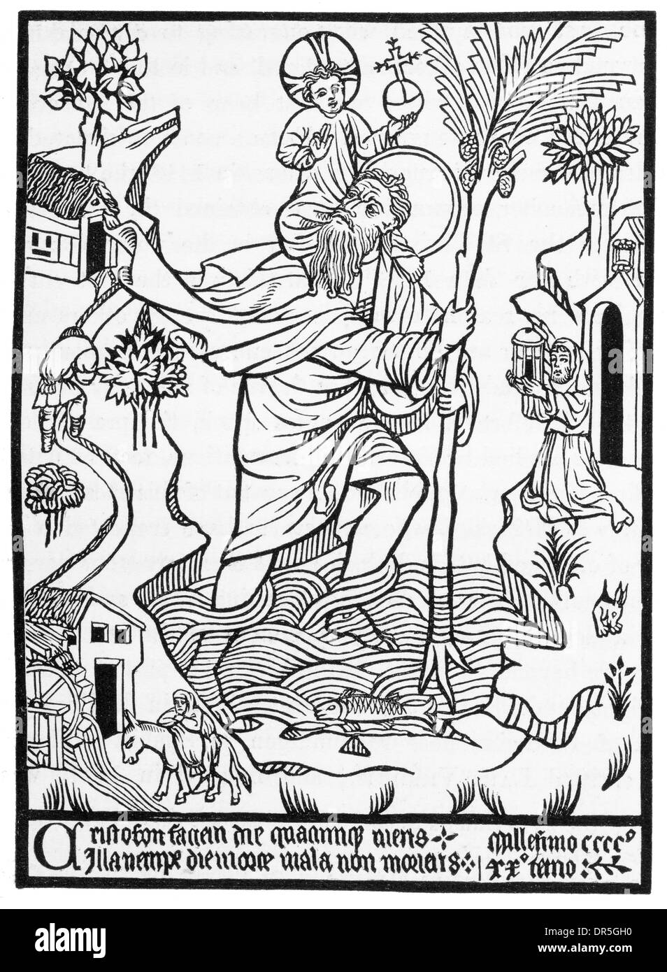 Saint Christopher carrying  Jesus as a child on his back across a  river printed in 1423 Stock Photo