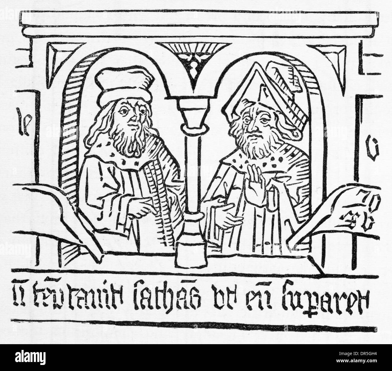 Wood cut from the Poor Preachers Bible showing two merchants Late 15th Century - Stock Image