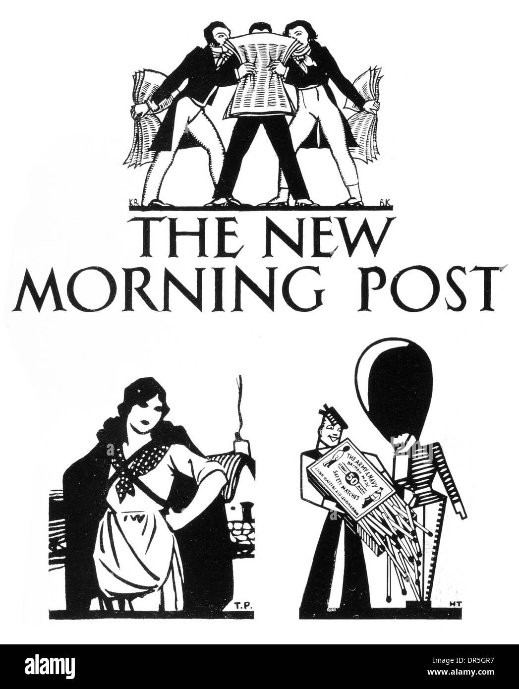 British Press, New Morning Post Kearly,  Burrell,  Maynard  London Midland, Scottish Railway Company Tom Purvis Horis Taylor - Stock Image