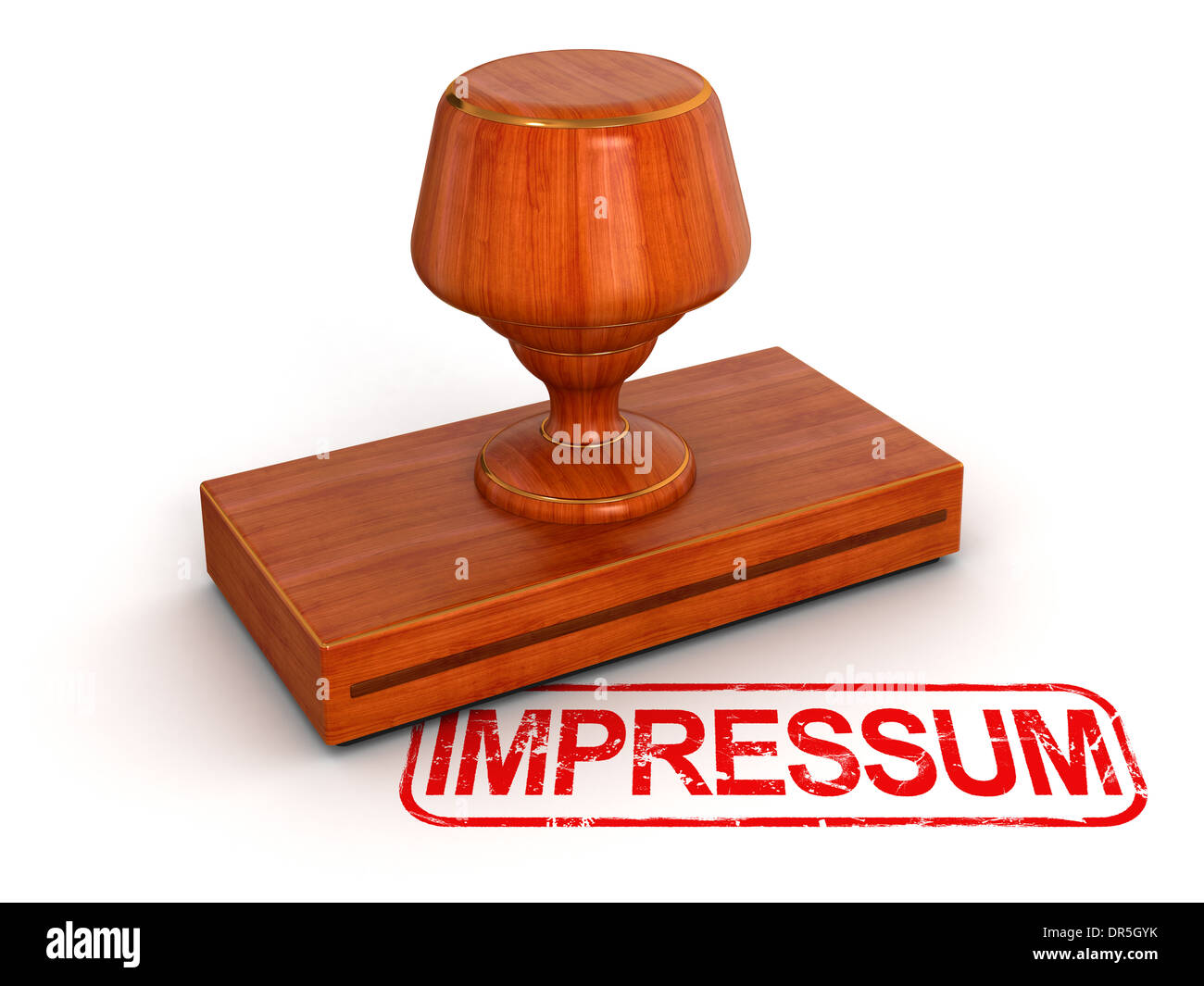 Rubber Stamp Impressum (clipping path included) - Stock Image