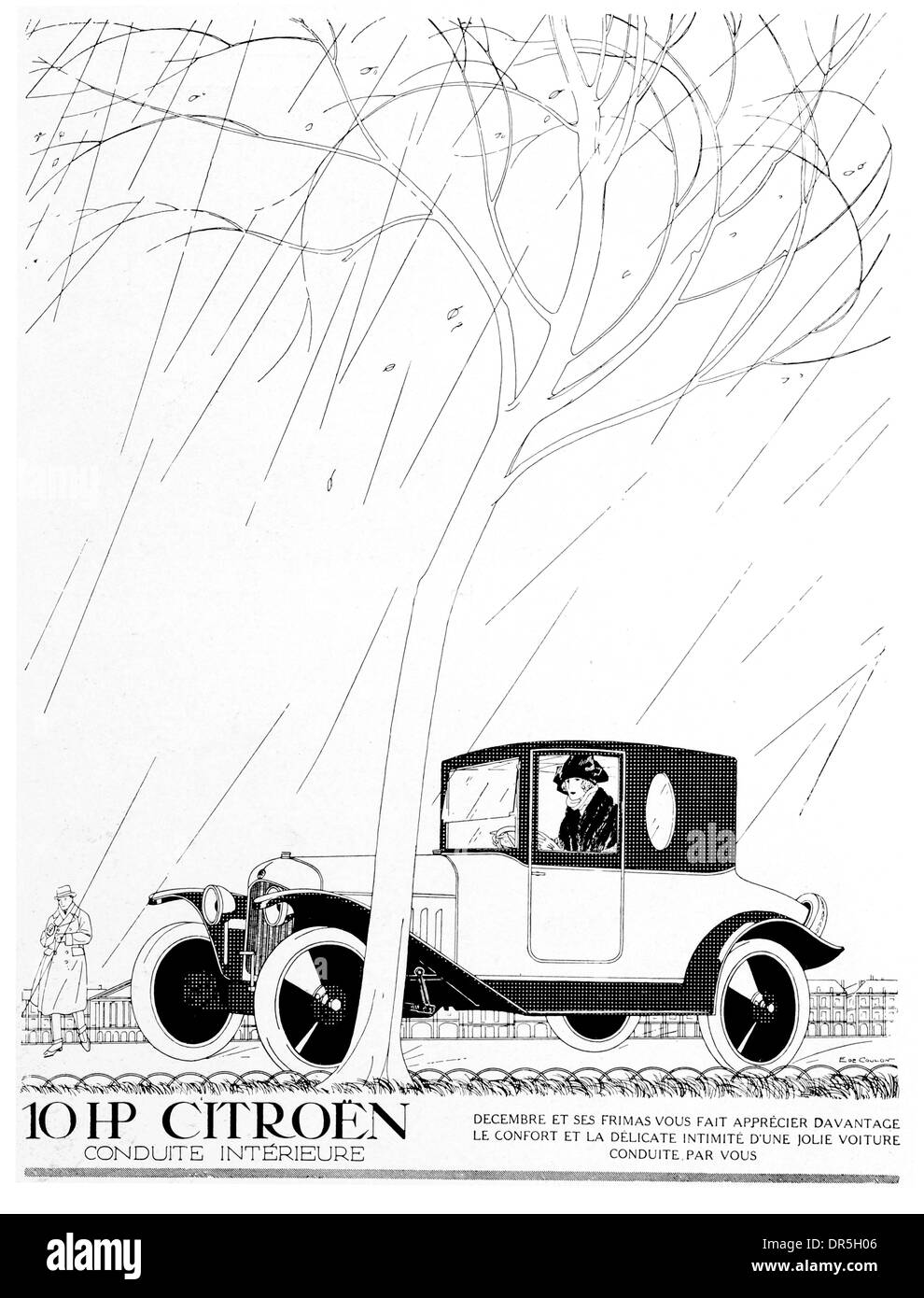 French Press Advertisment 1922 By De Coulen for Citroen 10 hp car - Stock Image
