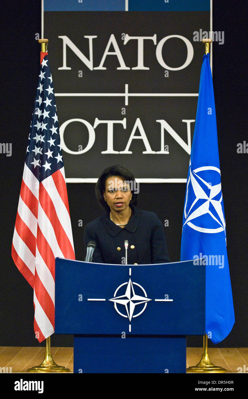 Dec 02, 2008 - Brussels, Belgium - U.S. Secretary of State CONDOLEEZZA RICE addresses a news conference at the end Stock Photo