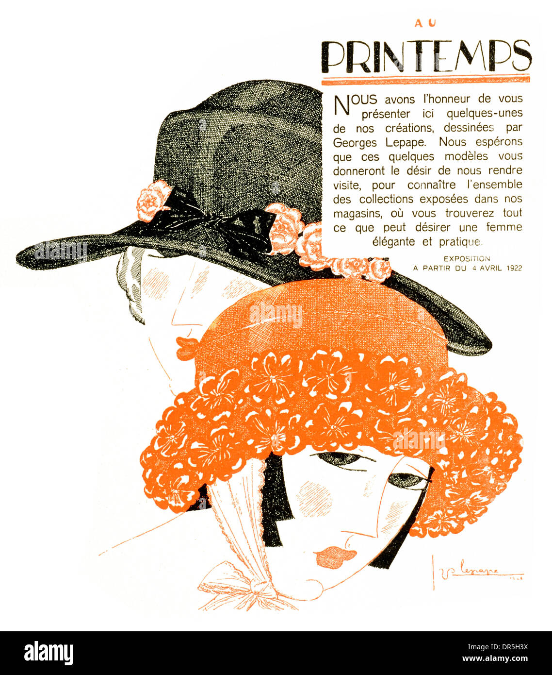 French Press Advertisment 1922 By Georges Lepape Stock Photo