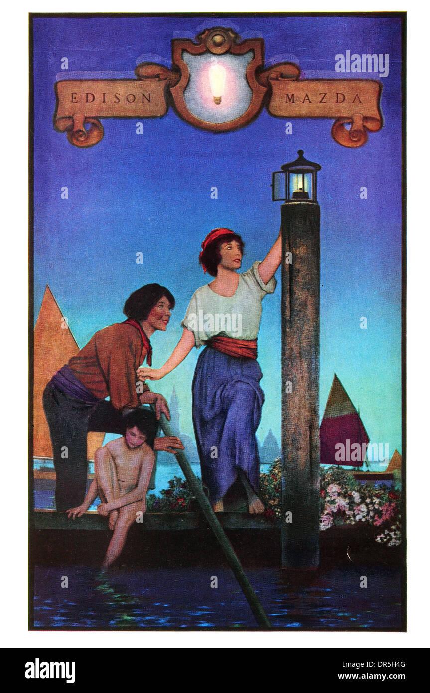1922 Maxfield Parrish Edison Mazda Light bulb poster - Stock Image
