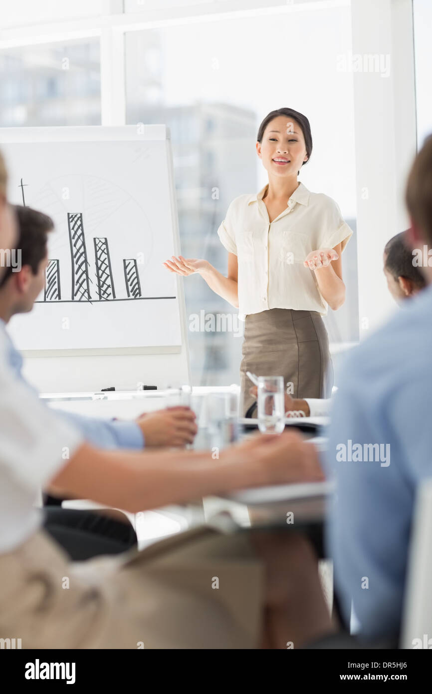 Happy asian businesswoman presenting bar chart to co workers - Stock Image