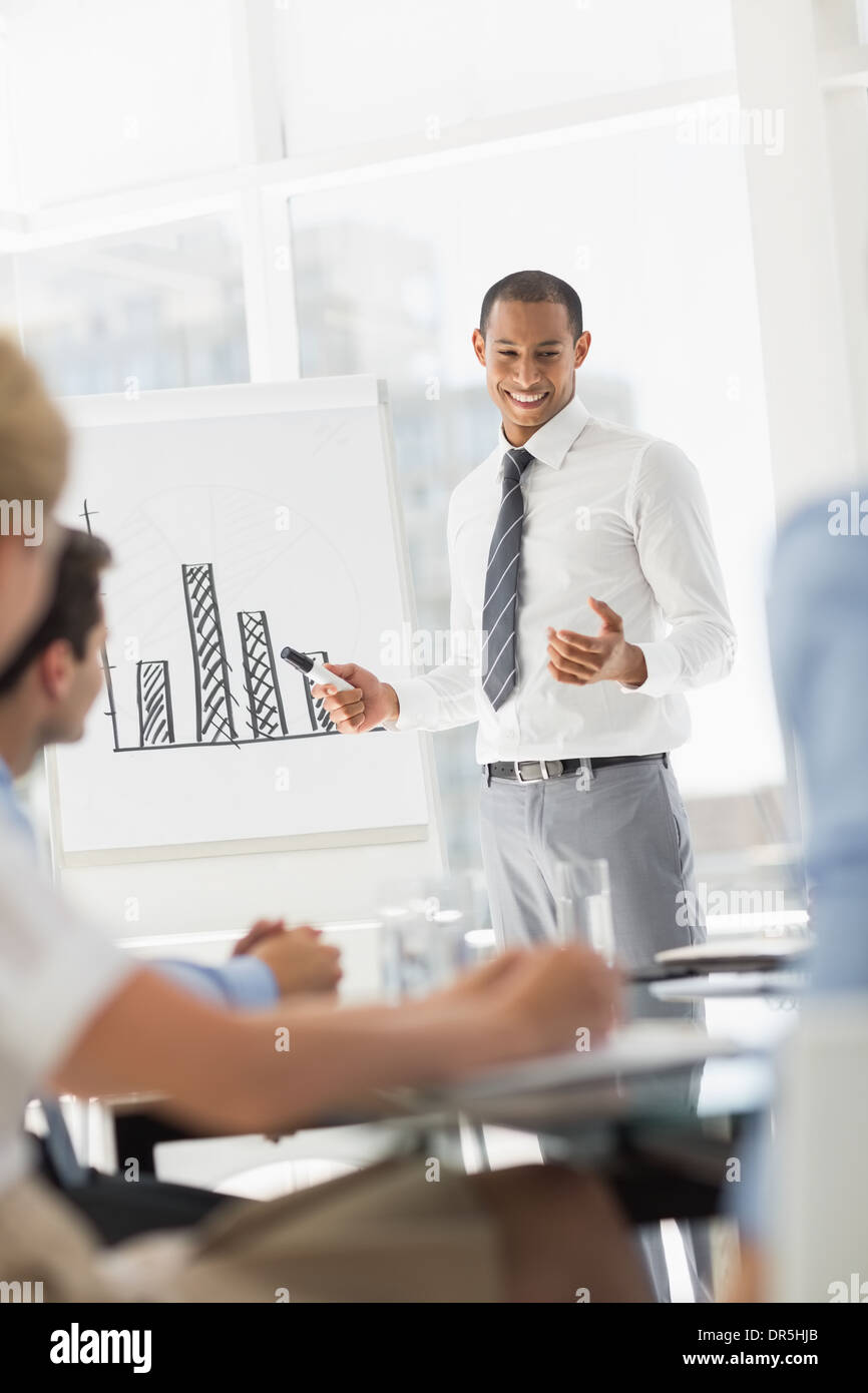 Smiling young businessman presenting bar chart to co workers - Stock Image