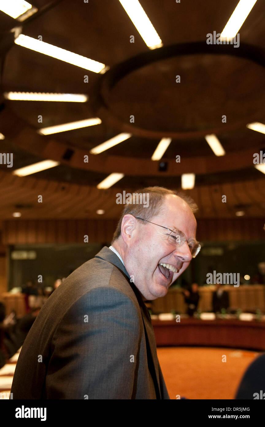 Jan 19, 2009 - Brussels, Belgium - Germany's Finance Minister PEER STEINBRUECK at the start of a Eurozone Finance ministers meeting in Brussels  (Credit Image: © Wiktor Dabkowski/ZUMA Press) - Stock Image