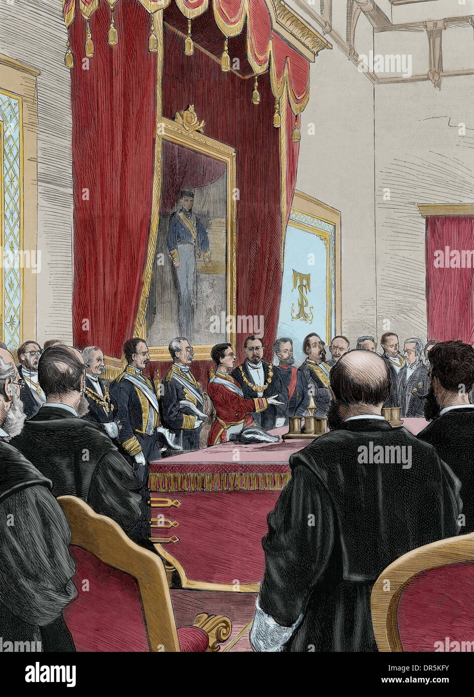 Alphonse XII (1857-1885). King of Spain. King giving a speech at the opening session of the courts of the kingdom. Engraving. - Stock Image