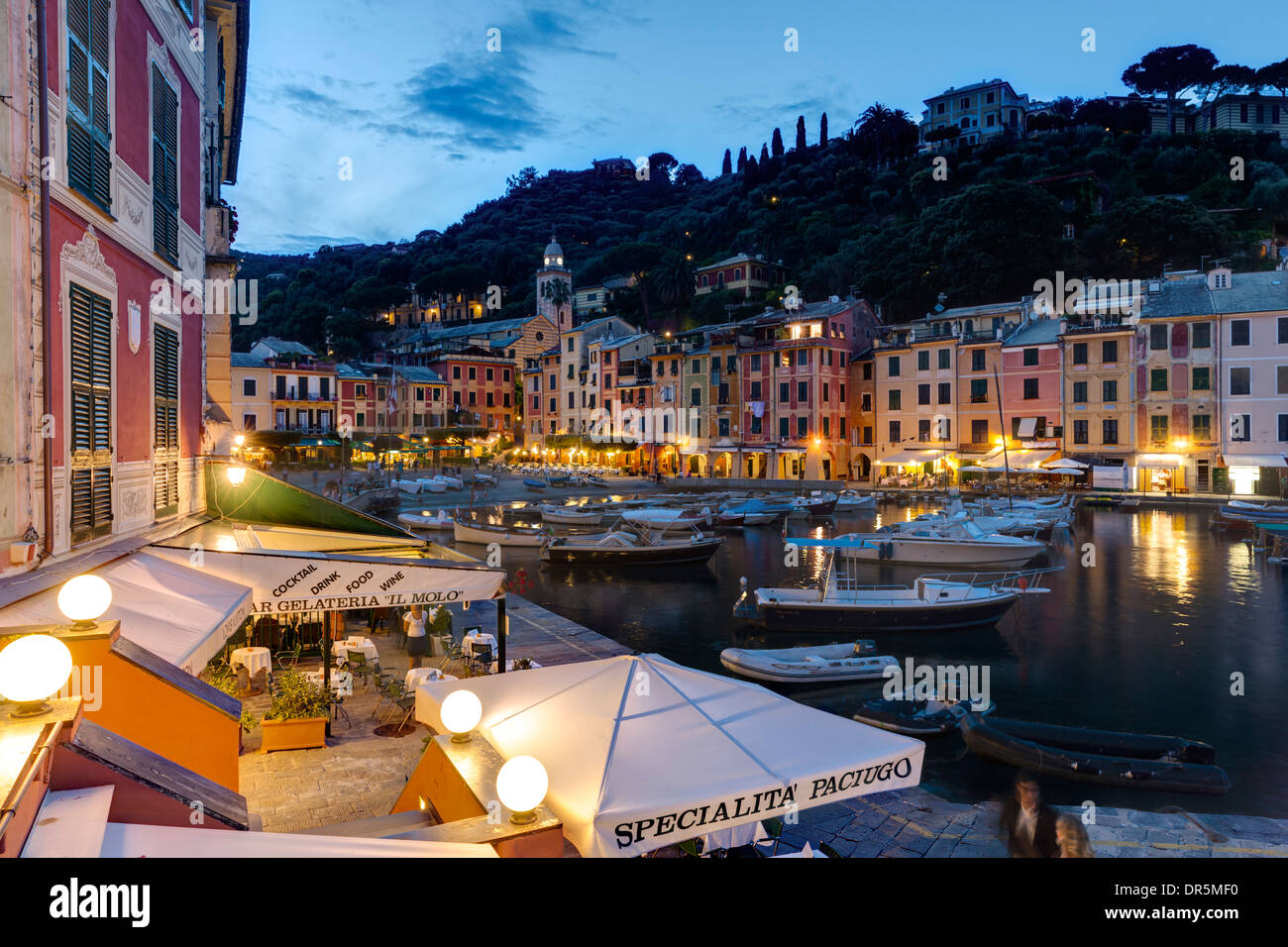 Italy, Liguria, Portofino, Boats in harbour at blue hour - Stock Image