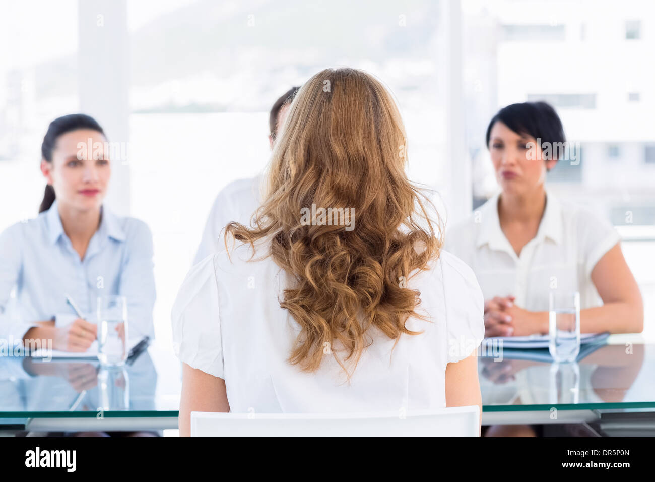 Recruiters checking the candidate during job interview - Stock Image
