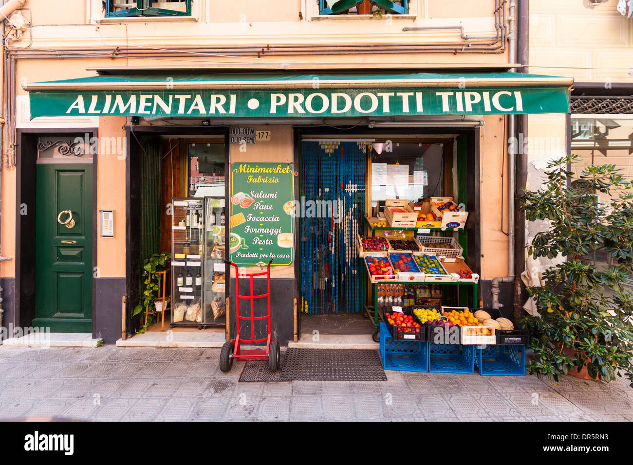 Italy, Liguria, Sestri Levante,  Greengrocery in the old town - Stock Image