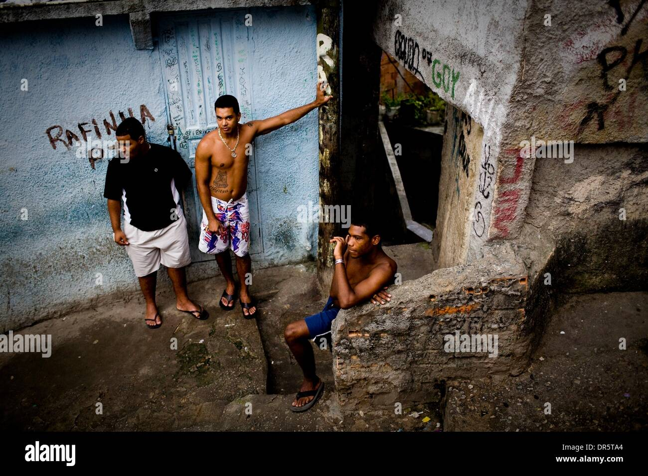 Mar 30, 2009 - Rio de Janeiro, Brazil - Young men are at the most risk in the slum to be involved with the drug gang that runs Rocinha.  The main gang in the slum is ADA or Amigos dos Amigos, which is one of the largest criminal organizations in the city.  (Credit Image: © Matthew Williams/zReportage.com/ZUMA) - Stock Image