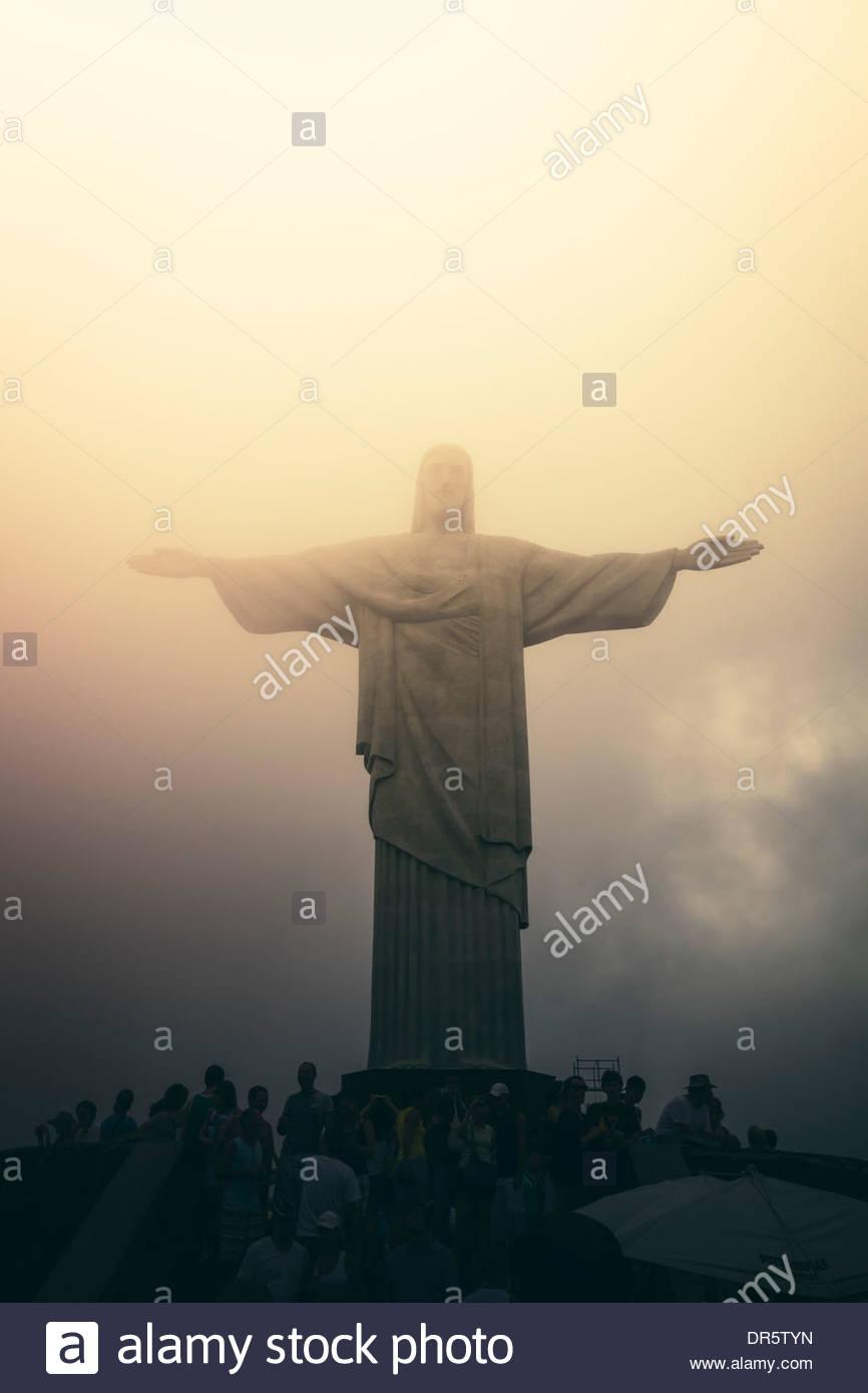 Brazil, Rio de Janeiro, Corcovado, Jesus Christ the Redeemer statue - Stock Image