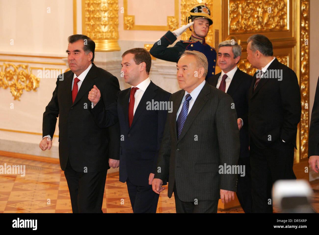 Feb 04, 2009 - Moscow, Russia - CSTO (Collective Security Treaty Organization) Summit in Moscow. to focus on setting up joint military force. Pictured: Pictured: (L-R) Tajik President EMOMALI RAKHAMON, President of Russia DMITRY MEDVEDEV, Kazakh President NURSULTAN NAZARBAYEV, (back): Armenian President SERZH SARGSYAN and  Kyrgyz President KURMANBEK BAKIYEV. (Credit Image: © PhotoX - Stock Image