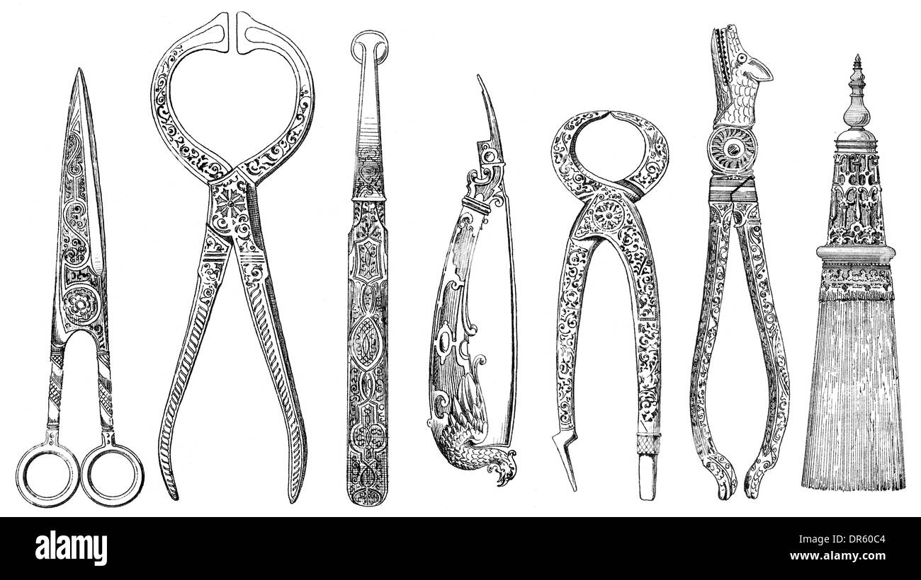 German Renaissance style, historical illustration from the 19th Century, 1882, different tools from the 16th century - Stock Image