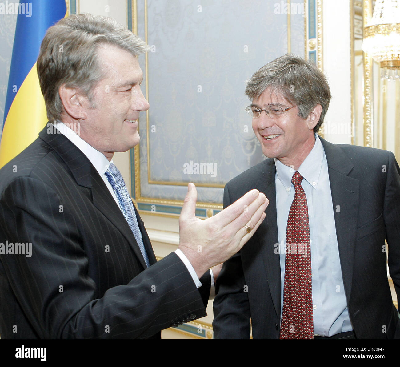 Apr 27, 2009 - Kiev, Ukraine - Ukrainian President VIKTOR YUSHCHENKO (l) welcomes U.S. Deputy Secretary of State JAMES STEINBERG (r).The officials discussed problems of international and regional policies. Yushchenko made an assessment of the domestic political and economic situation in Ukraine. `Our relations are currently strategic and very important to Ukraine,` he stressed. (Cr - Stock Image