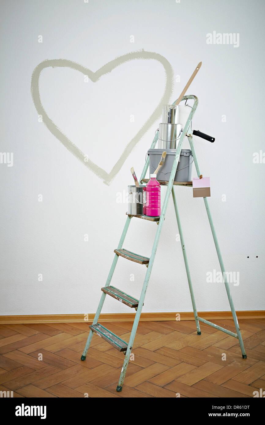 Painting Equipment On A Ladder Heart Shape On Wall Munich Bavaria