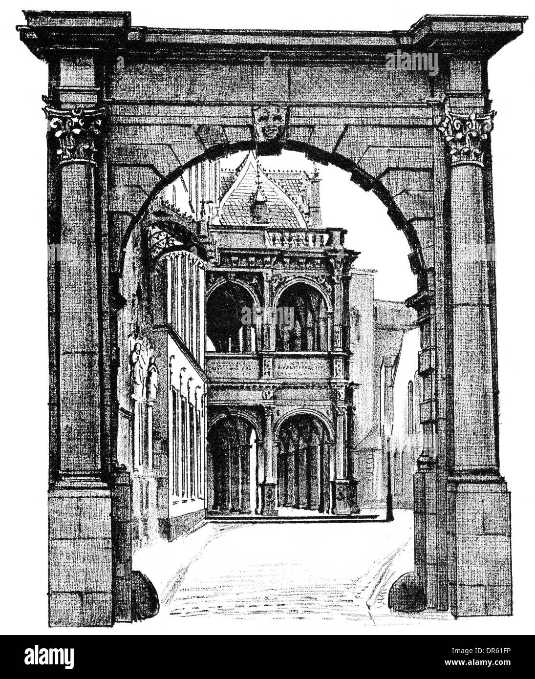 architectural illustration from the 19th Century, 1881, German Renaissance style, 16th century, old town hall, Cologne, Germany, - Stock Image