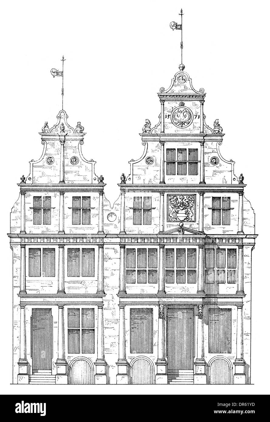 Renaissance style, 16th century, Gabled town houses on Prinzipalmarkt square, Muenster, North Rhine-Westphalia, German - Stock Image