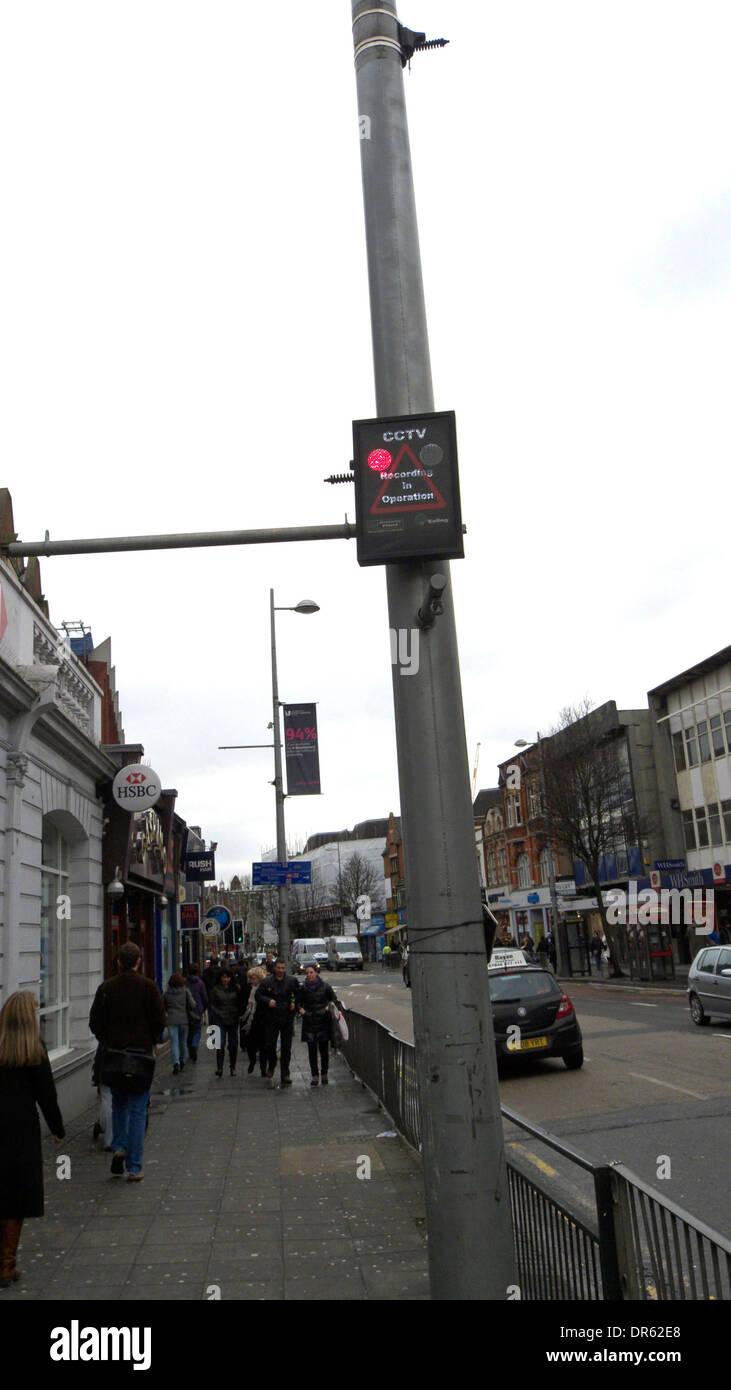 united kingdom west london ealing cctv camera operating in uxbridge road - Stock Image