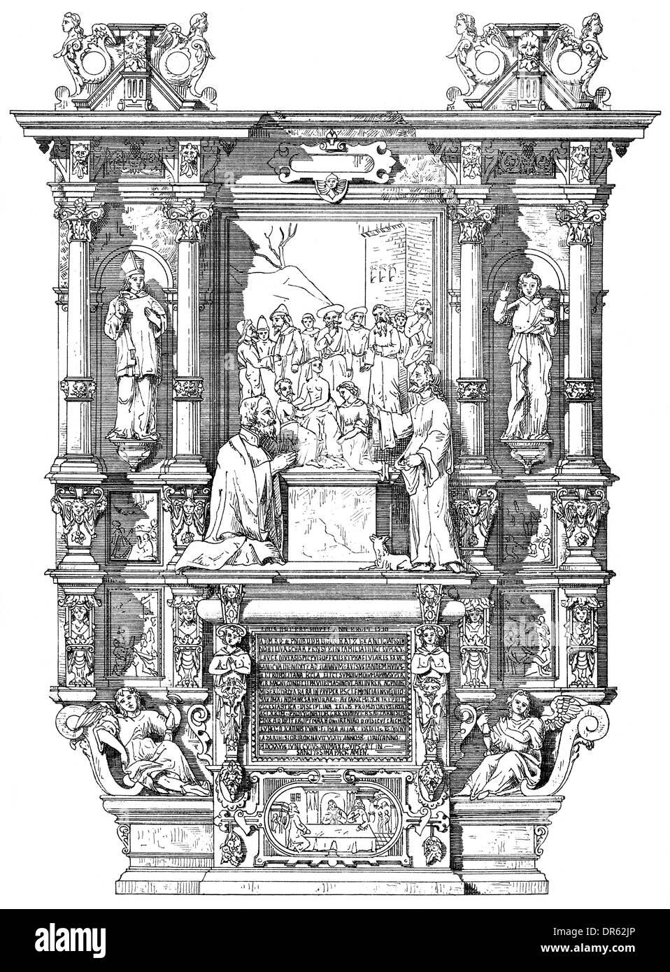 Epitaph altar of provost Hugo Cratz von Scharffenstein, 1625, 17th century, Liebfrauenkirche church, Trier, Germany - Stock Image