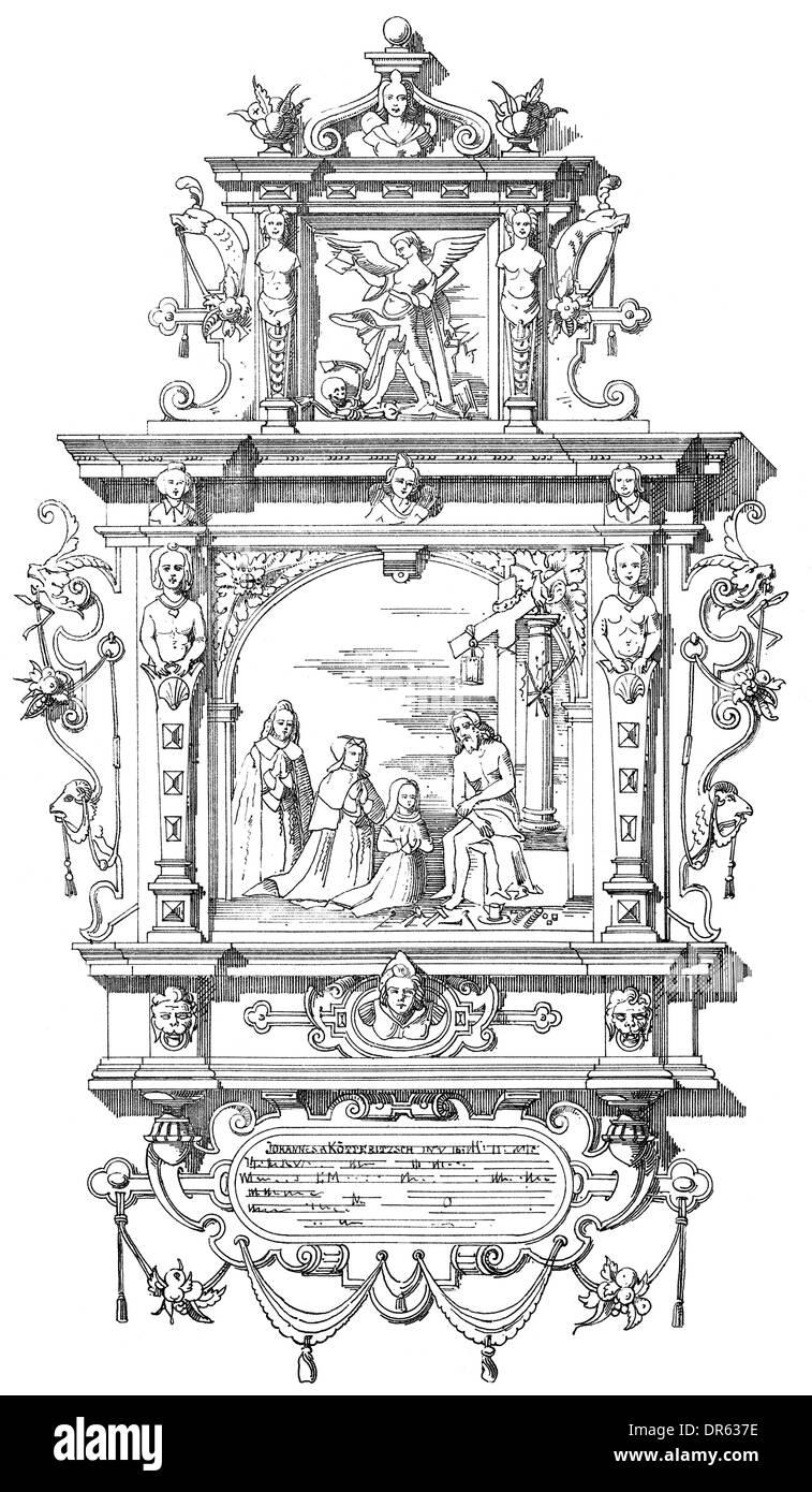 German Renaissance style, 17th century, Church of St. Nicholas, epitaph for Electoral Councillor Johann von Kötteritz, Berlin - Stock Image