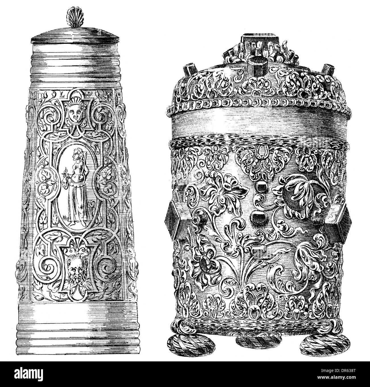 German Renaissance style, 16th century, Siegburger Schnelle beermug, host box, Stock Photo