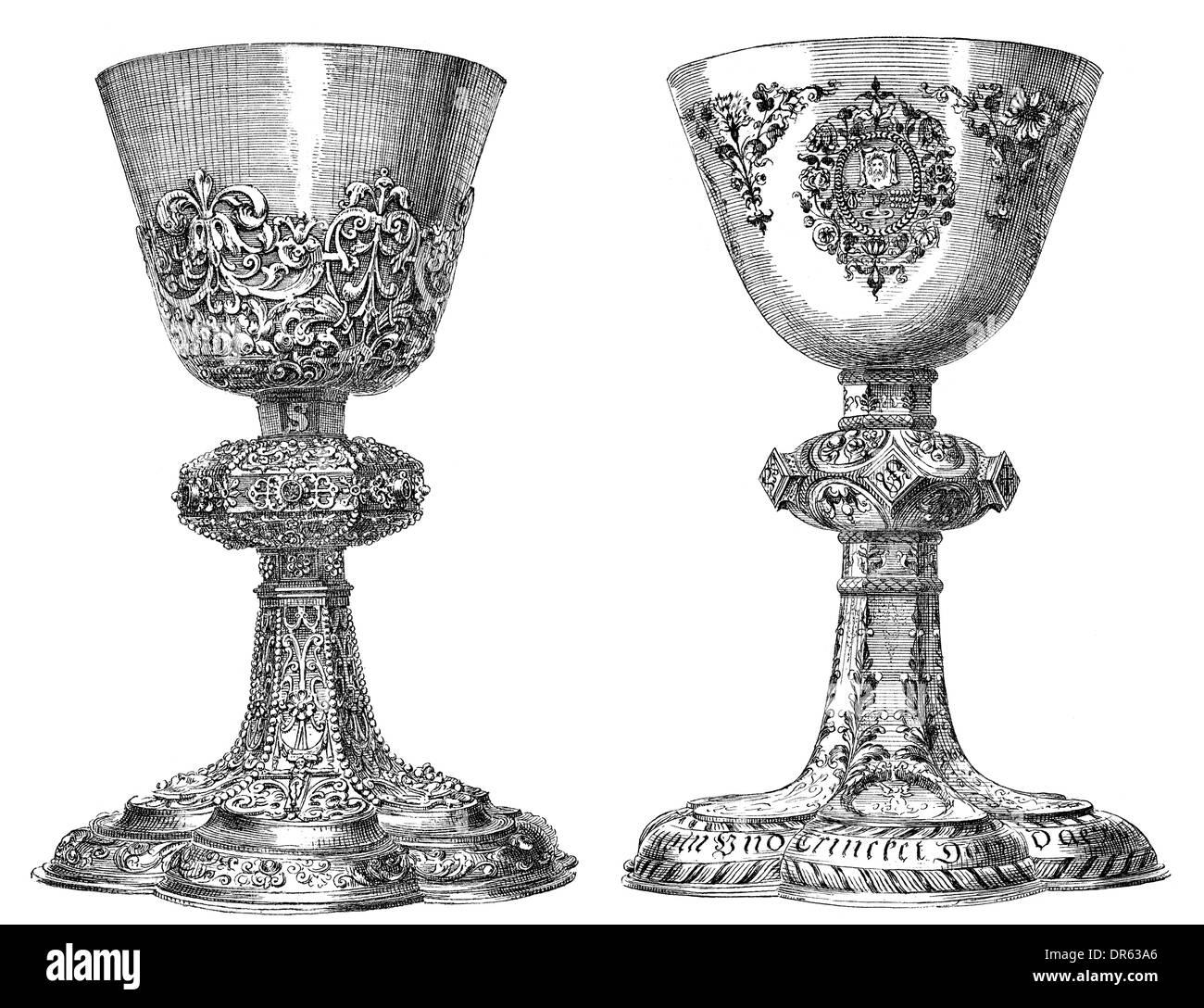 German Renaissance style, 16th century, religious chalices - Stock Image