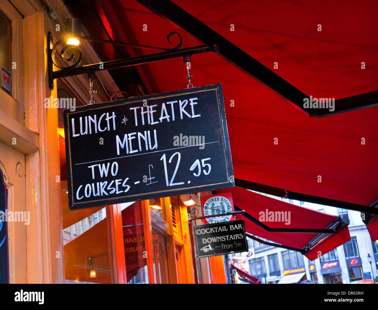 Restaurant blackboard theatre menu in Covent Garden London - Stock Image