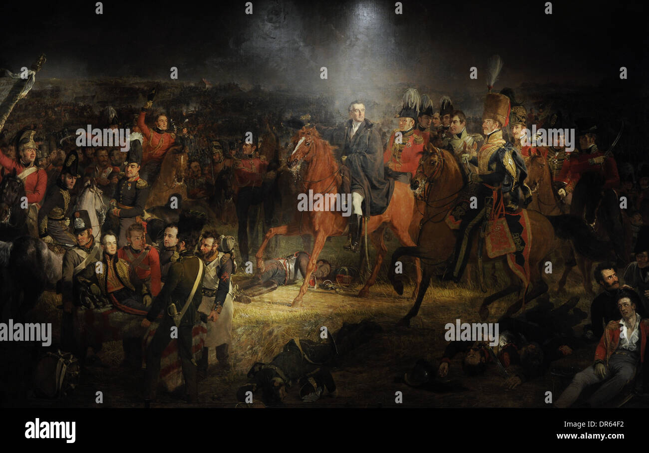 Jan Willem Pieneman (1779-1853). Dutch painter. The Battle of Waterloo, 1824. Rijksmuseum. Amsterdam. Netherlands. - Stock Image