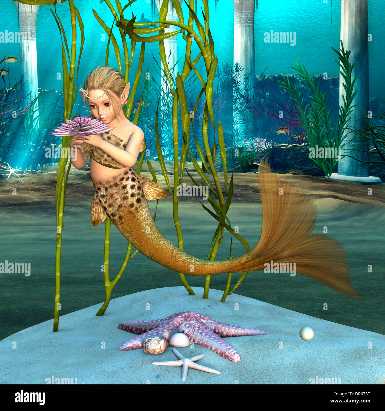 3D Digital Render Of A Cute Little Mermaid Holding Purple Anemone Floweron Blue Fantasy Ocean Background