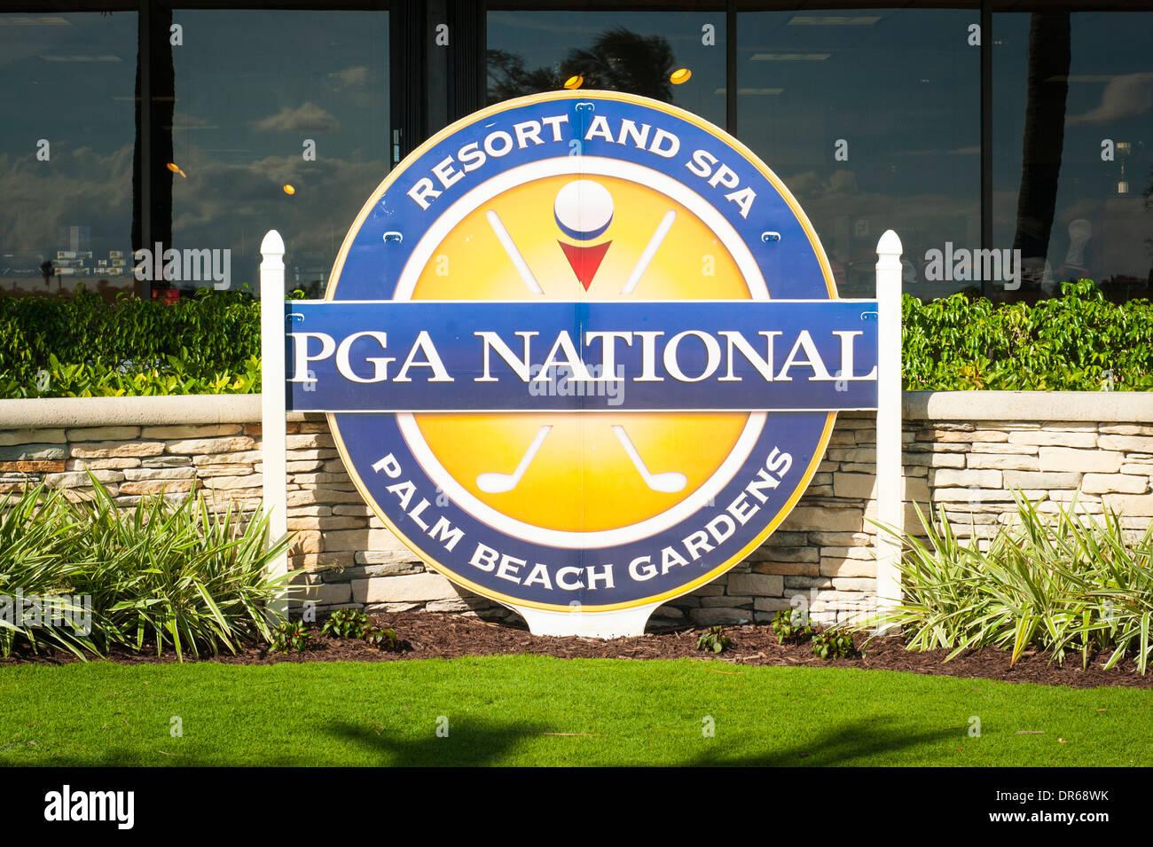 USA Florida PGA National Golf Course Palm Beach Gardens Sign Logo By Club  House