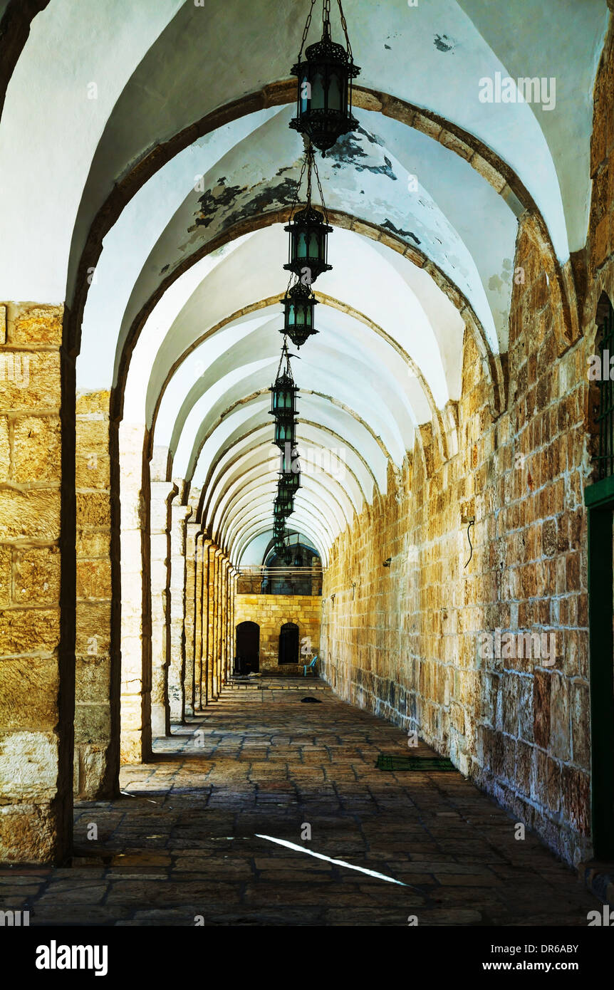 Arches of a passageway at the Temple mount in Jerusalem, Israel - Stock Image