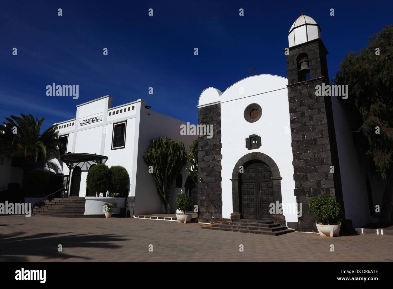 The center and the church Iglesia de San Martin, San Bartolome, Lanzarote, Canary islands, canaries, spain - Stock Image