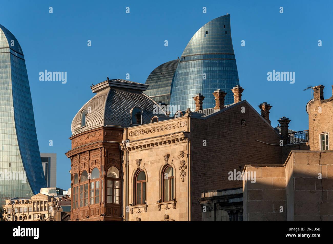 City scene old and modern architecture Baku Azerbaijan - Stock Image