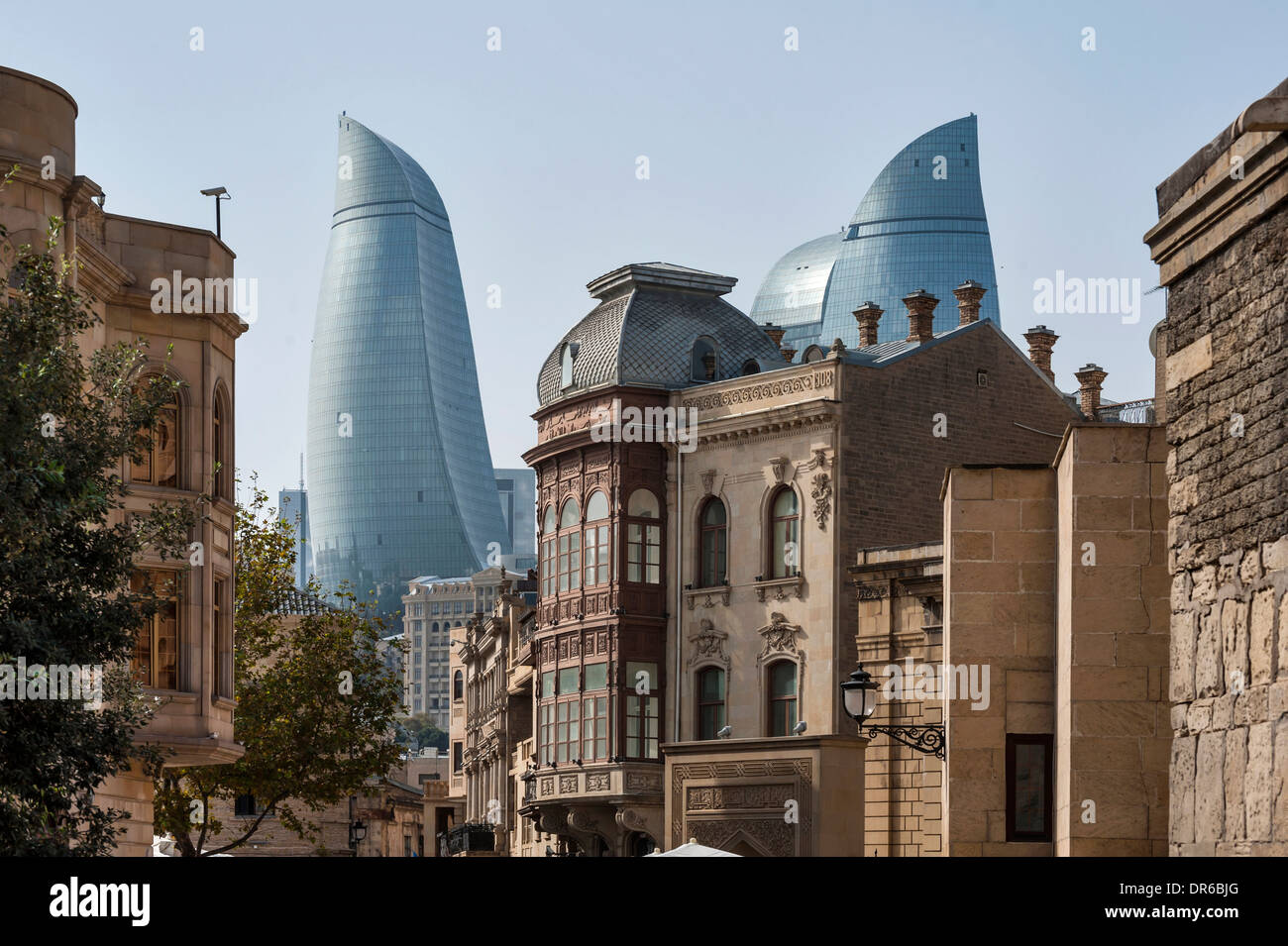 City scene old and modern architecture Baku Azerbaijan Stock Photo