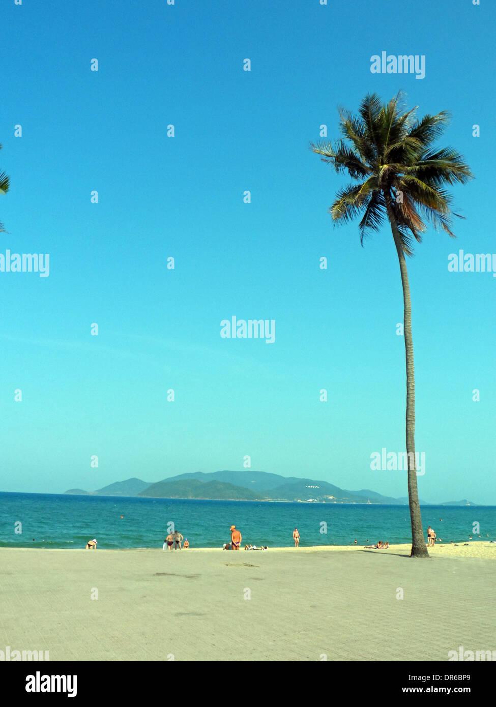 Vietnam beach looking at Vinpearl island - Stock Image